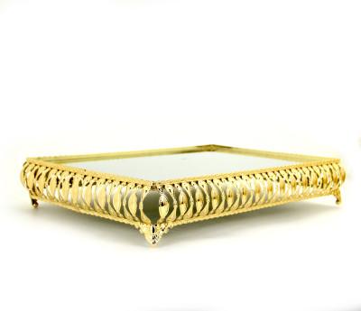 3lü Aynalı Dikdörtgen Jardinyer Set Gold - Thumbnail