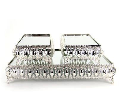 Diğer - 3lü Aynalı Dikdörtgen Jardinyer Set Gümüş
