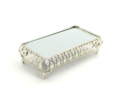3lü Aynalı Dikdörtgen Jardinyer Set Gümüş - Thumbnail