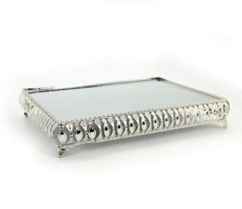 3lü Aynalı Dikdörtgen Jardinyer Set Gümüş