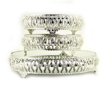 3lü Aynalı Yuvarlak Jardinyer Set Gümüş