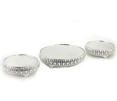 3lü Aynalı Yuvarlak Jardinyer Set Gümüş - Thumbnail