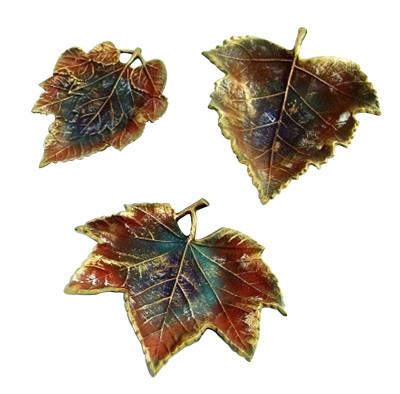 Diğer - 3lü Çınar Yaprakları Şeklinde Dekoratif Obje Kahverengi