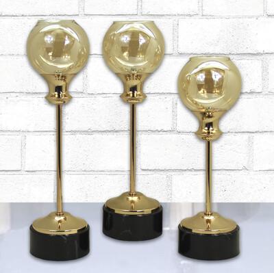 Diğer - 3lü Dekoratif Top Moon Şamdan Mumluk Set Siyah Gold