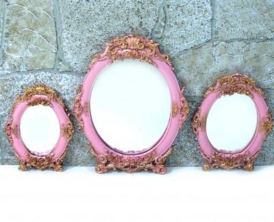 Diğer - 3lü Demet Yuvarlak Varaklı Ayna Seti Pembe
