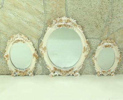 Diğer - 3lü Demet Yuvarlak Varaklı Ayna Seti Sedef