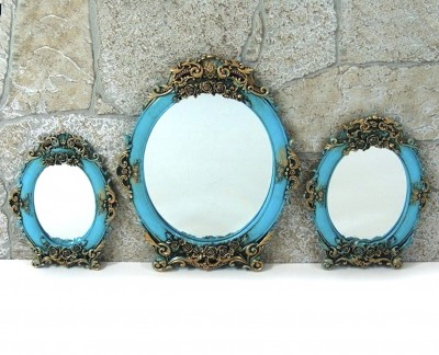 Diğer - 3lü Demet Yuvarlak Varaklı Ayna Seti Turkuaz