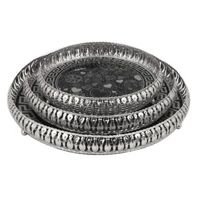 Diğer - 3lü Desenli Yuvarlak Jardinyer Tepsi Set Gümüş