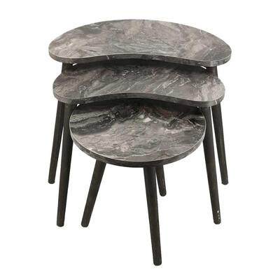 Diğer - 3lü Fasulye Tasarım Zigon Sehpa Siyah Mermer