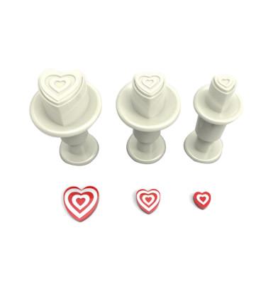 Diğer - 3lü İç İçe Kalpler Şeker Hamuru Şekillendirici Enjektörlü Kopat