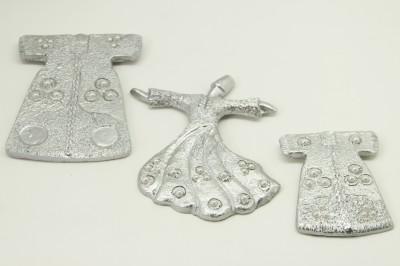 Diğer - 3lü İncili Kaftan ve Semazen Asmalı Duvar Biblo Seti Gümüş