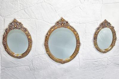 Diğer - 3lü İşleme ve İnci Detaylı Oval Ayna Seti Gold