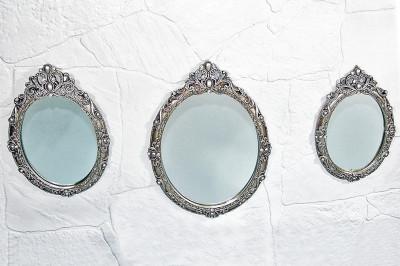 Diğer - 3lü İşleme ve İnci Detaylı Oval Ayna Seti Gümüş