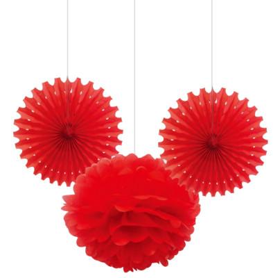 Diğer - 3lü Kağıt Yelpaze Ve Top Parti Süsleme Seti Kırmızı