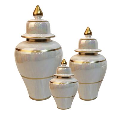 Diğer - 3lü Kapaklı Janjan Altın Yaldızlı Dekoratif Küp Seti