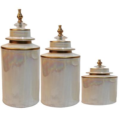 Diğer - 3lü Kapaklı Şah Altın Yaldızlı Dekoratif Mermer Küp Seti