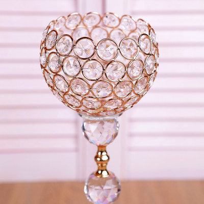 3lü Kristal Taşlı Top Şamdan Set Gold - Thumbnail