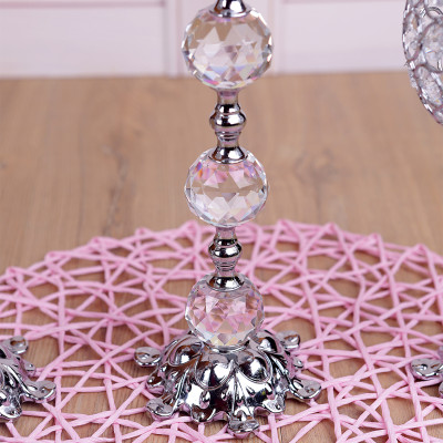 3lü Kristal Taşlı Top Şamdan Set Gümüş - Thumbnail