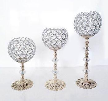 3lü Kristal Taşlı Top Şamdan Set Gümüş