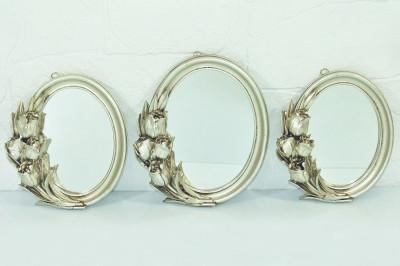 Diğer - 3lü Lale Dekor Kenarlı Oval Ayna Seti Gümüş
