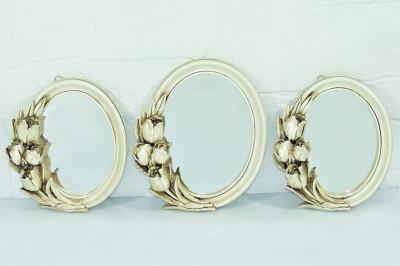 Diğer - 3lü Lale Dekor Kenarlı Oval Ayna Seti Sedef