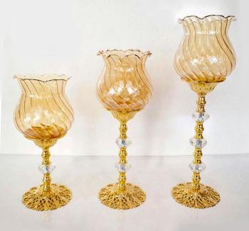 3lü Lale Tasarımlı Taşlı Şamdan Set Gold