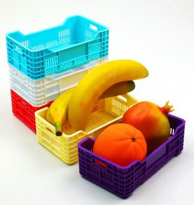 Diğer - 3lü Meyve Kasası Tasarımlı Mini Çok Amaçlı Sepet