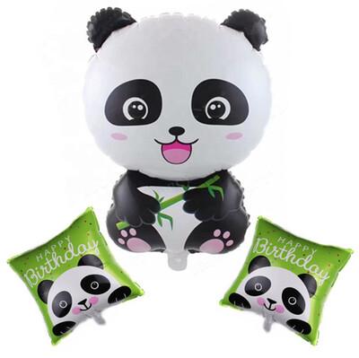 3lü Panda Temalı Dev Folyo Balon Seti - Thumbnail