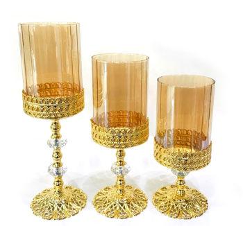3lü Salkım Taşlı Şamdan Set Gold