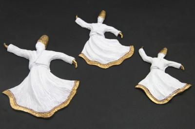 Diğer - 3lü Swarovski Taşlı Semazen Asmalı Duvar Süsü Beyaz