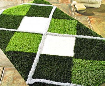 Confetti - 3lü Tuvana Baklava Desenli Banyo Halısı Takımı Yeşil