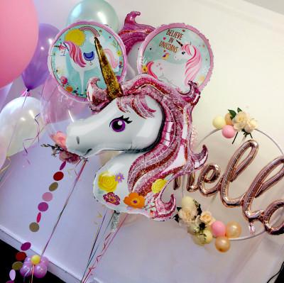 Diğer - 3lü Unicorn Tek Boynuzlu At Şeklinde Folyo Balon Seti