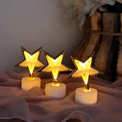 Diğer - 3lü Yıldız Dekoratif Mini Gece Lambası