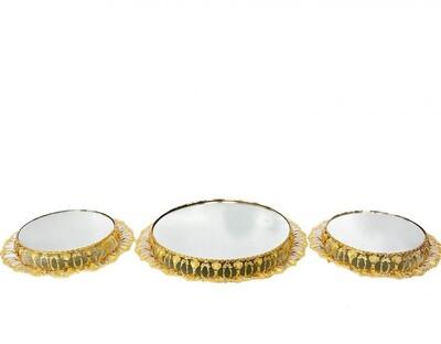 Diğer - 3lü Yuvarlak Çift Desenli Menekşe Jardinyer Seti Gold