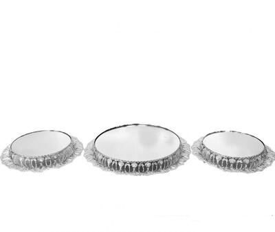 Diğer - 3lü Yuvarlak Çift Desenli Menekşe Jardinyer Seti Gümüş