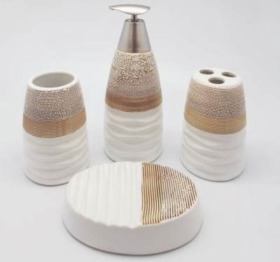 Diğer - 4 Parça Dalgalı Kahverengi Beyaz Seramik Banyo Seti