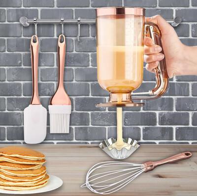 Diğer - 4 Parça Hamur Dağıtıcı Pancake Seti Gold