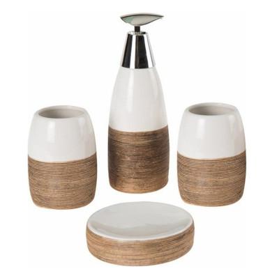 Diğer - 4 Parça Kahverengi Çizgili Beyaz Seramik Banyo Seti