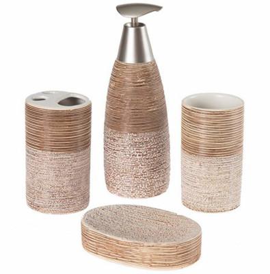 Diğer - 4 Parça Seramik Kahverengi Çizgili Taş Model Banyo Takımı