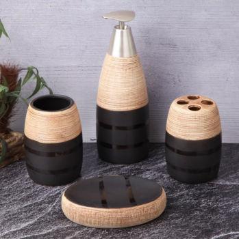 4 Parça Siyah Detaylı Seramik Banyo Seti