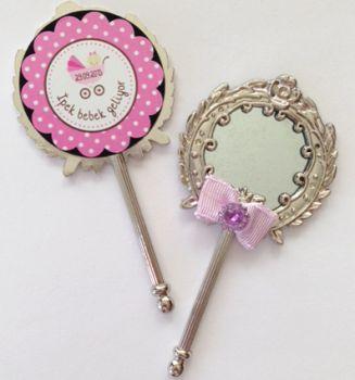 48li Bebek Şekeri Mini Süs Aynası Etiketi Yuvarlak 3cm