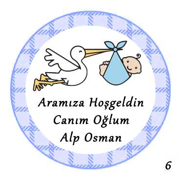 48li Bebek Şekeri Mini Süs Aynası Etiketi Yuvarlak 3cm - Thumbnail