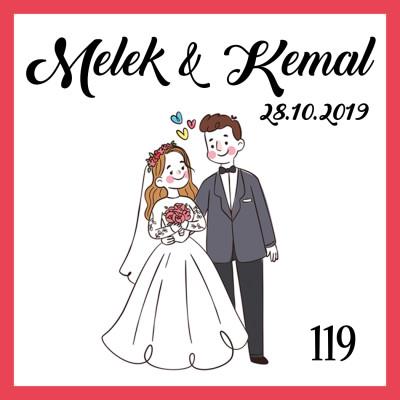 48li Nikah Şekeri Etiketi Kare 3,5cm - Thumbnail