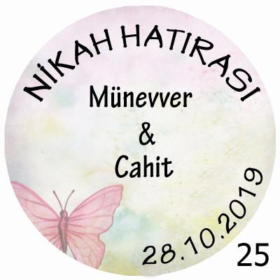 Diğer - 48li Nikah Şekeri Mini Süs Aynası Etiketi Yuvarlak 3cm