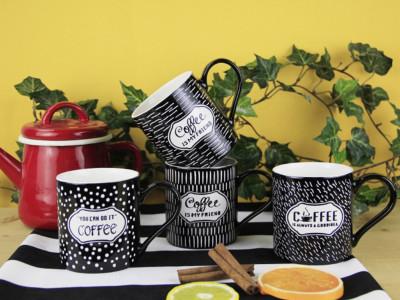 Diğer - 4lü Coffee Temalı Siyah Kupa Bardak Seti 330ml