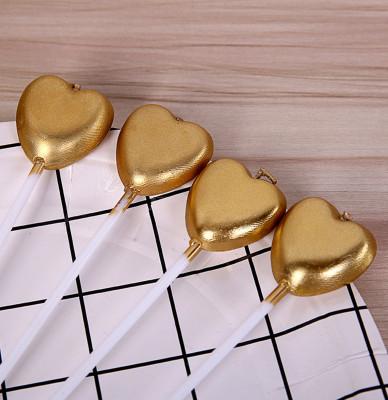 Diğer - 4lü Kalp Şeklinde Renkli Pasta Mumu Gold