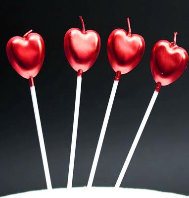 Diğer - 4lü Kalp Şeklinde Renkli Pasta Mumu Kırmızı