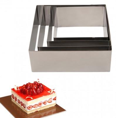 Diğer - 4lü Kare Pasta Çemberi Seti 6cm