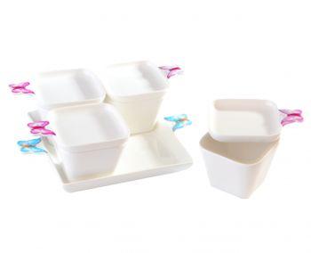 4lü Kelebekli ve Tepsili Kapaklı Porselen Kahvaltı Seti