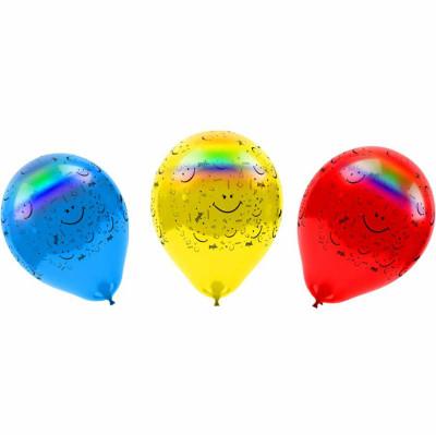 Diğer - 4lü Led Işıklı Gülen Yüz Baskılı Karışık Renkli Balon